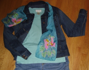 Jeans, T-shirt, jacket, and scarf from thrift store