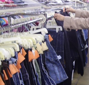 Shopping for jeans at a thrift store